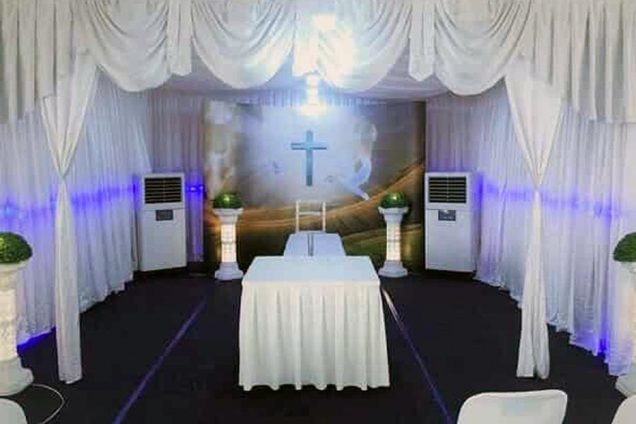 christian funeral setup